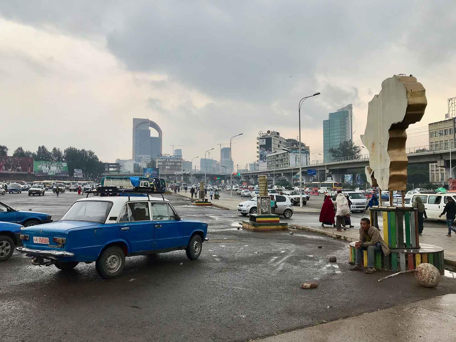 Alter historischer Platz in Addis Abeba - Meskel Square, Addis Ababa